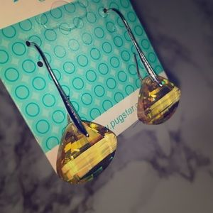 Pugster Jewelry - Yellow stone drop earrings